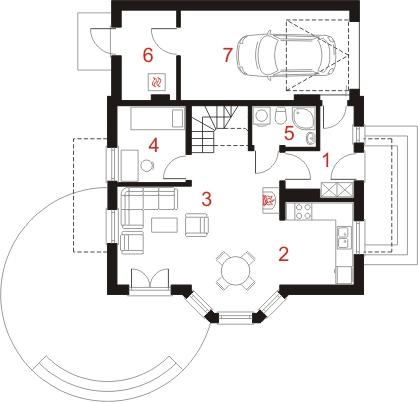 Dom przy Kalinowej 3 - Rzut parteru