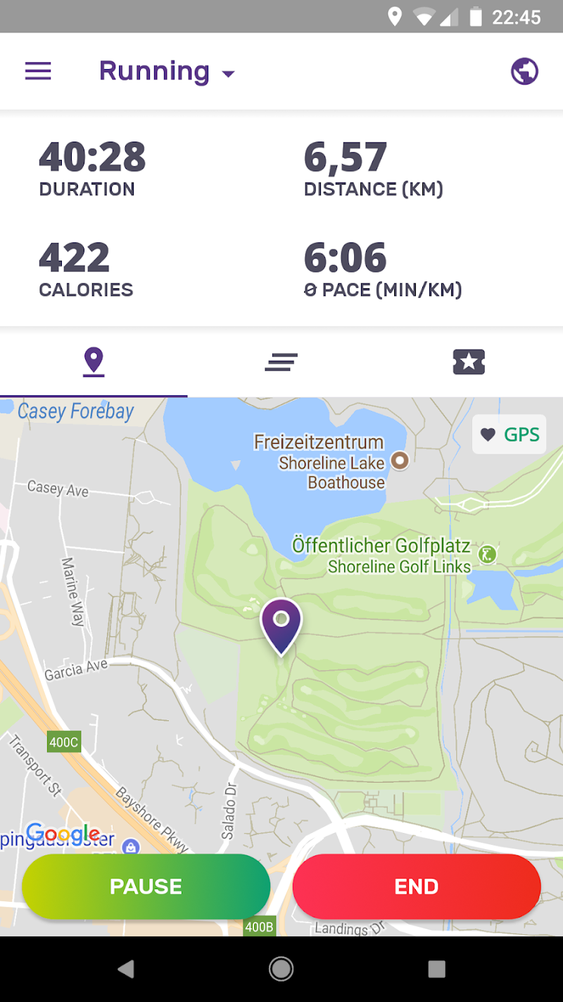 Running Walking Jogging Hiking GPS Tracker FITAPP Screenshot