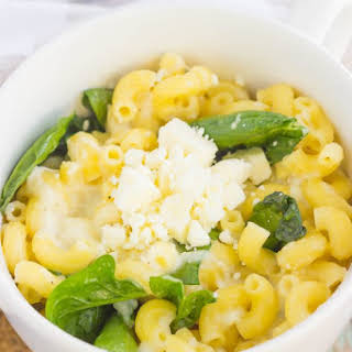 Microwave Mug Spinach and Feta Macaroni and Cheese.