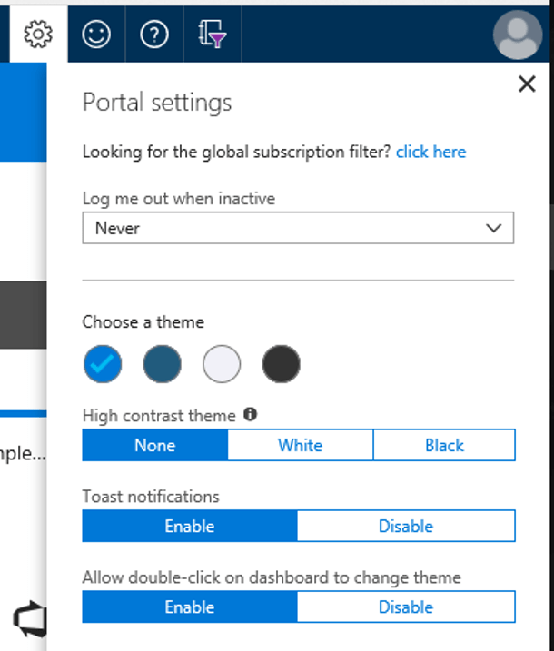 Change azure portal theme quickly by double click on dashboard