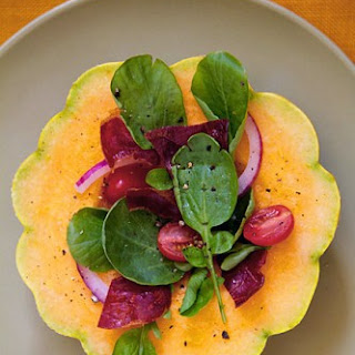 Watercress and Prosciutto Salad in Melon Bowls