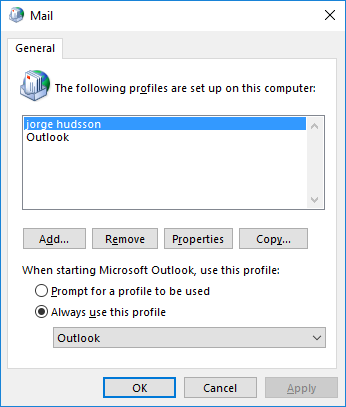 Mail setup in Outlook