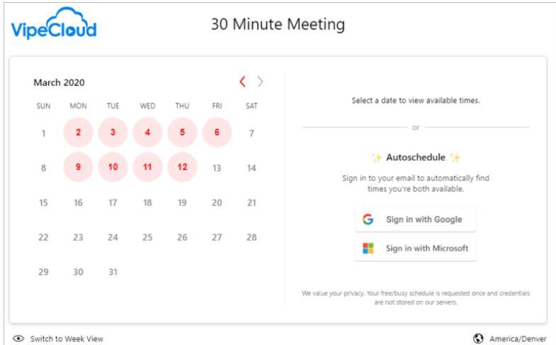Screenshot of VipeCloud's scheduler