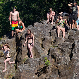 Cliff diving 2 by Pete Bobb - Sports & Fitness Watersports ( cottage grove, warefall, wildwood falls, oregon )