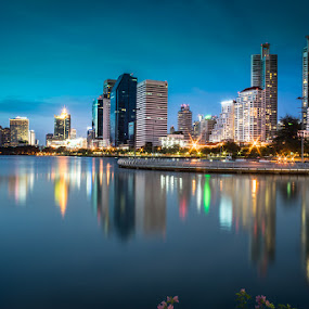 Sirikit Park Bangkok by Toni Laird - City,  Street & Park  City Parks ( bangkok, lights, reflection, park, sunset, thailand, buildings, lake, architecture, cityscape )