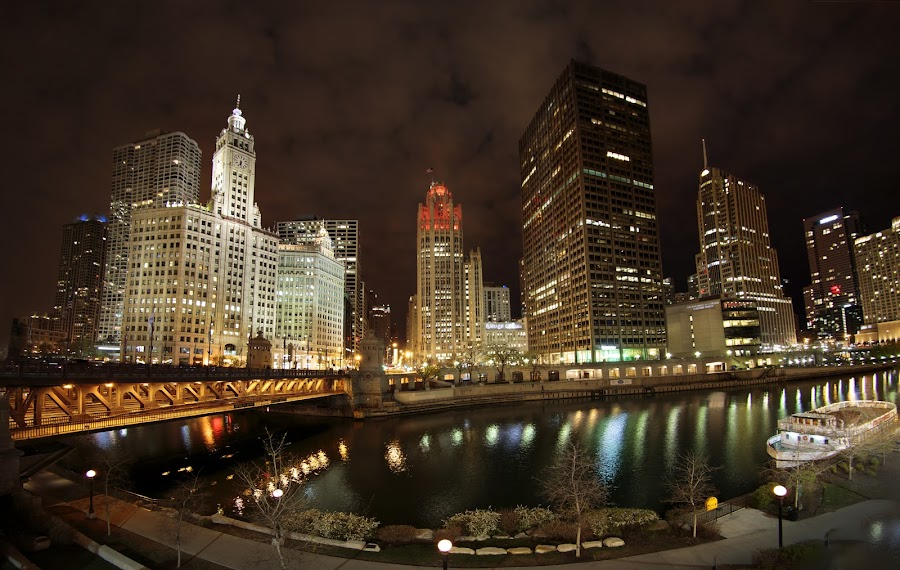 Chicago River by Jan Kiese - Buildings & Architecture Bridges & Suspended Structures ( city at night, street at night, park at night, nightlife, night life, nighttime in the city )