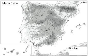 Photo: Mapa Físico (mudo) de España