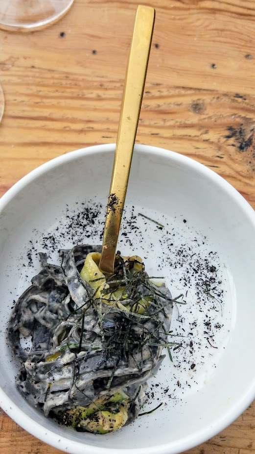 Chefs Week PDX Heritage dinner 2017, at Han Oak: Peter Cho, Han Oak served Mentaiko Linguini- Spicy Cured Pollack Roe, Leek Ash Noodles, Shiro Dashi, Parmesan, Nori