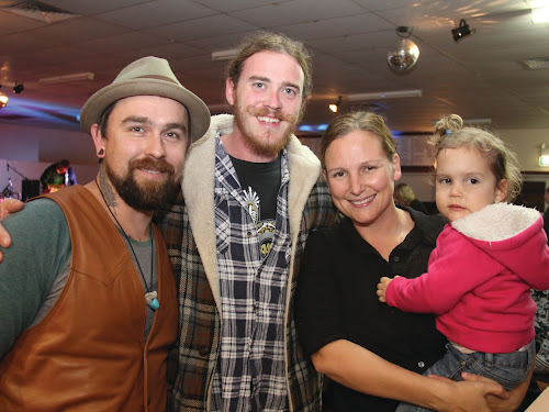 Mini-music festival in Wee Waa: Performer Blake Saban with festival goers Ben Murphy, Kendall Glover and Chela Hennessy.