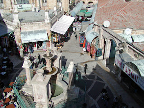Photo: A view of a market square down below
