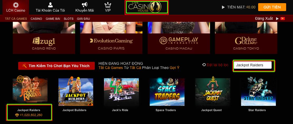 Chơi Jackpot Raiders ngay để nhận tiền khủng tại Live Casino House