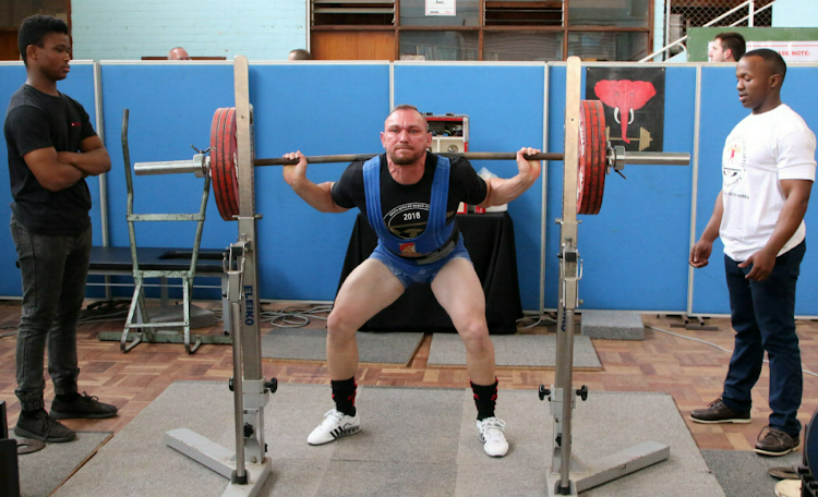 Eben Booyens squats 170kg in preparation for the EC Powerlifting Champs held in Port Elizabeth earlier this month