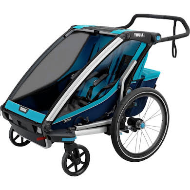 Thule Chariot Cross 2 Trailer and Stroller: Blue, 2 Child Thumb