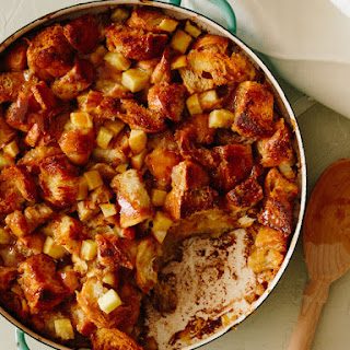 Apple and Cardamom Croissant Bread Pudding with Caramel Sauce.