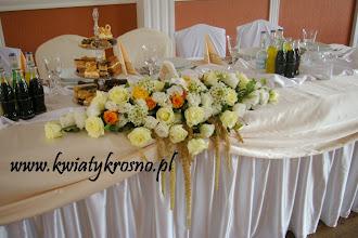 Photo: Kompozycja z żywych kwiatów na stół Pary Młodej Dwór Ostoia - Klimkówka