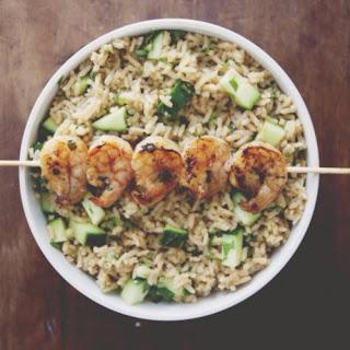 Spicy Grilled Shrimp With Cucumber Cilantro Rice.