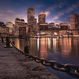 Boston Night by Brian Pex - City,  Street & Park  Skylines ( boston, art, beauty, photoshop, boston skyline, tamron, boston mass, digital art, nikon, fan pier, composition, massachusetts, waterfront, cityscape, details, passion, photography )