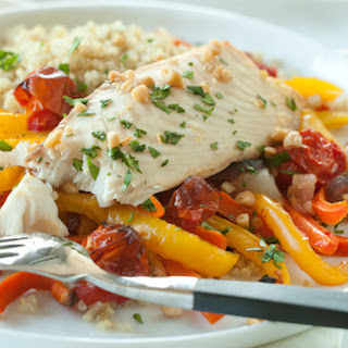 Roasted Fish and Veggies with Quinoa and Pine Nuts.