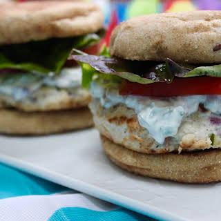 Zesty Chicken Burgers with Cilantro Cream.