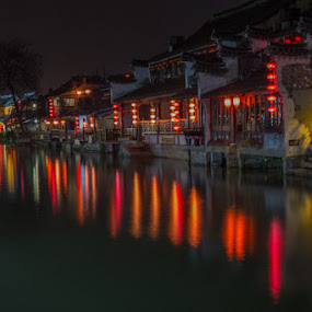Xitang by night by Waldemar Dorhoi - City,  Street & Park  Night (  )