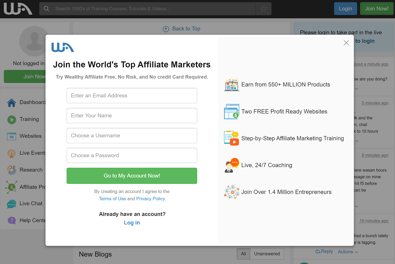 Wealthy Affiliate Login Page Sign Up