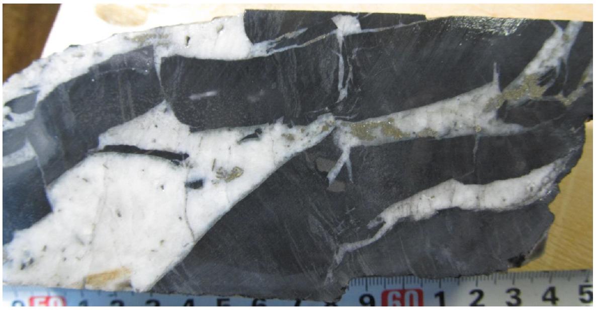 Гидротермальная брекчия с пиритом, марказитом, сфалеритом и золотом.