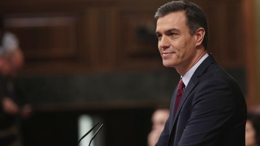 El presidente del Gobierno en funciones, Pedro Sánchez, durante su intervención inicial, en la segunda sesión de votación.