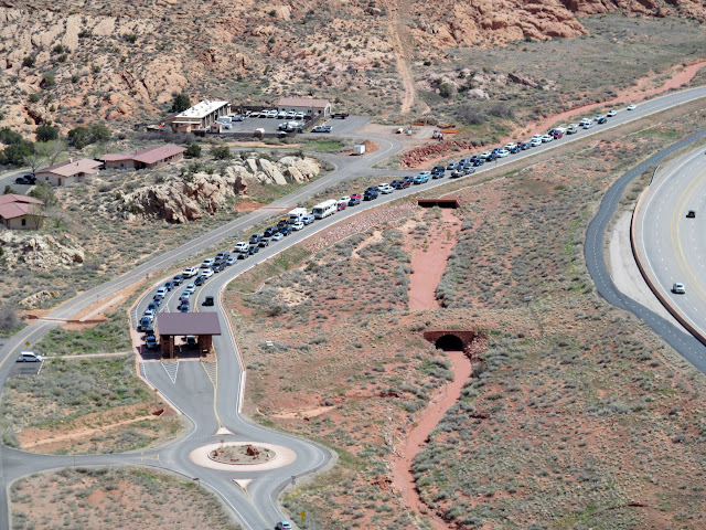 Line to get into Arches National Park