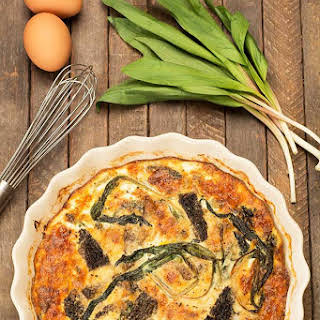 Crustless Quiche with Morel Mushrooms and Ramps.