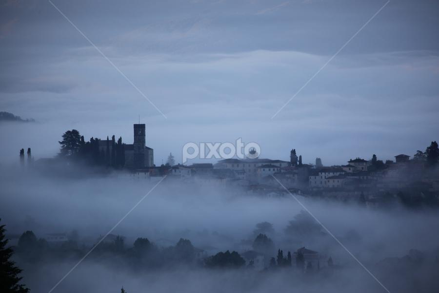 Peeking out by Marc Madou - City,  Street & Park  Vistas ( fog, italy, city )