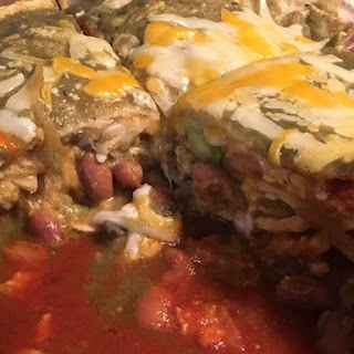 Layered Pinto Bean Enchilada