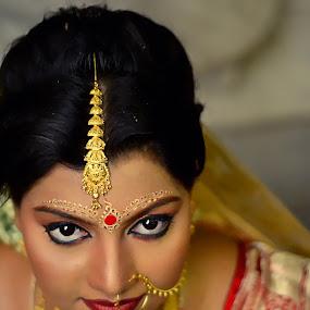 Indian Bride by Subroto Mukherjee - Wedding Bride ( woman, marraige, indian, bride, portrait, closeup )