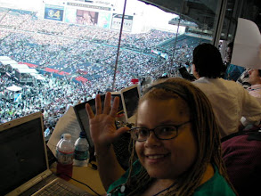 Photo: I'm in the press booth covering the 2008 Democratic National Convention.