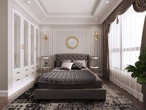 Mẫu thiết kế nội thất Eurowindow cho phòng ngủ căn hộ chung cư với gam màu nâu trầm
