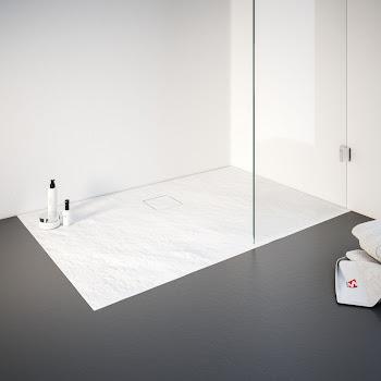 Receveur de douche de plain-pied en résine minérale, blanc
