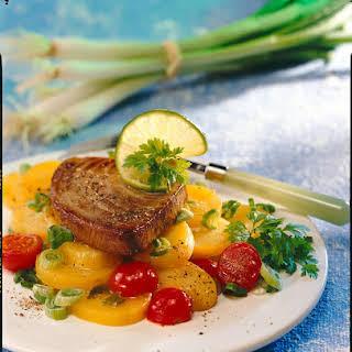 Pan-fried Tuna with Marinated Potato Salad.