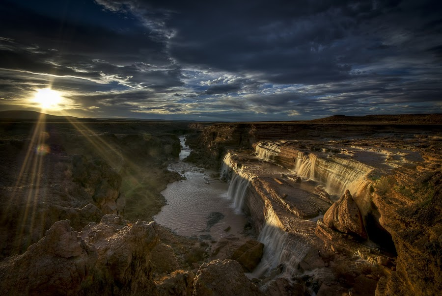 Grand Falls in Golden Light by Scott Wood - Landscapes Sunsets & Sunrises ( water, waterfall, arizona, grand falls,  )