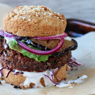 Black Bean Burger With Pickled Red Onion [Vegan, Gluten-Free]