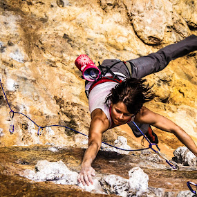 Cassie on Kaster by Ryan Skeers - Sports & Fitness Climbing ( climbing, girls climbing, sport climbing, kalymnos, bouldering )