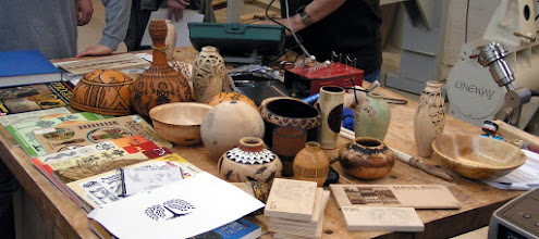 Photo: Our demonstrator for the evening, Ed Karch, brought a wide variety of decorated turnings to show us many opportunities for embellishment we have after a piece leaves the lathe.