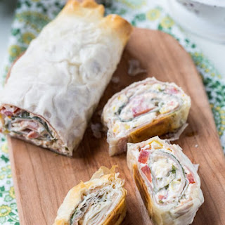 Prosciutto, Tomato and Corn Phyllo Roll Ups