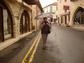 Photo: Ioanna is walking in the rain at Lefkara