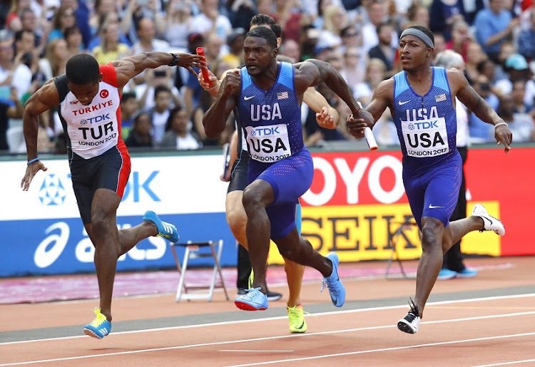 Mike Rodgers and Justin Gatlin of the U.S. in action.