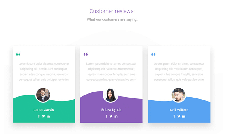 Customer reviews example for a brand website
