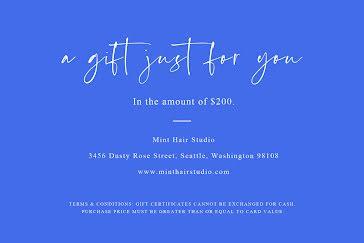 Mint Hair Studio Blue - Gift Certificate Template