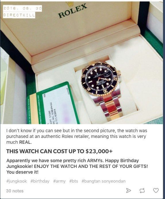 And Amazing Gift Jungkook Got For His 20th Birthday The Famous Idol Also A Rolex Watch Fans Quickly Did Math Figured That Particular