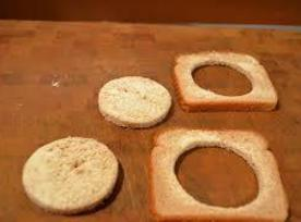You will either need a drinking glass or cookie/biscuit cutter. Cut a whole in the...