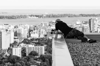 Photo: Closing Up Shop  I don't know what it is about this person, but whenever he visits a rooftop, it ends up being locked up for good. Perhaps he's cursed or perhaps I am the one with the bad luck.  #toronto #rooftopping #blackandwhite #skyline #portrait #urbex #urbanexploration