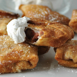 Peach Wontons with Coconut Whipped Cream [Vegan] Recipe
