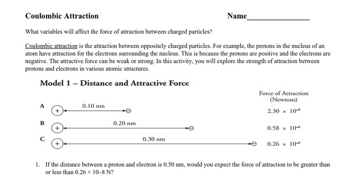 Coulombic Attraction Intro Notes And Pracitce 15 Google Docs